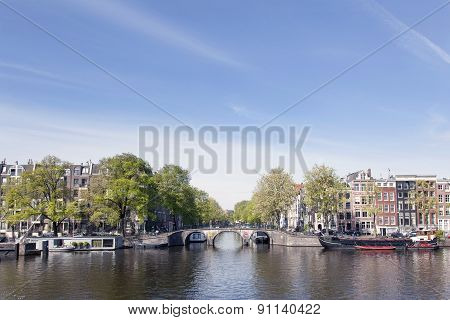 View On Prinsengracht From River Amstel In Amsterdam