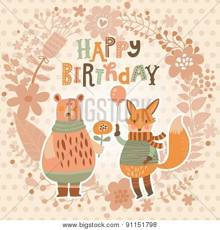 Sweet happy birthday card with lovely fox with air balloon and cute bear in summer floral wreath. Cute cartoon fox and bear in vector with holiday text. Childish card in bright colors