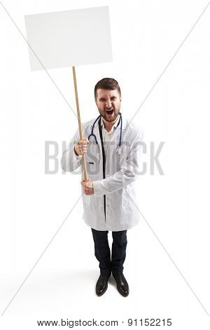 view from above of displeasure screaming doctor with empty white placards for your text. isolated on white background