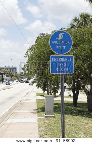 Evacuation Route Sign In Fort Lauderdale, Florida