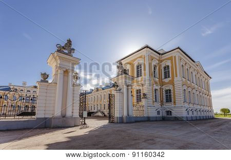 Main entrance of Rundale Palace - baroque style palace built for the Dukes of Courland and is one of the major tourist destinations in Latvia.