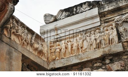 Close up of the frieze at temple of Hadrian at Ephesus