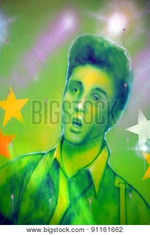 Street art Elvis Presley