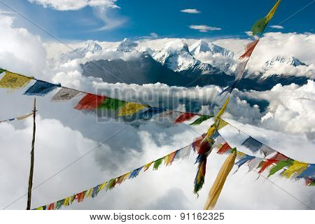 View From Langtang To Ganesh Himal With Prayer Flags