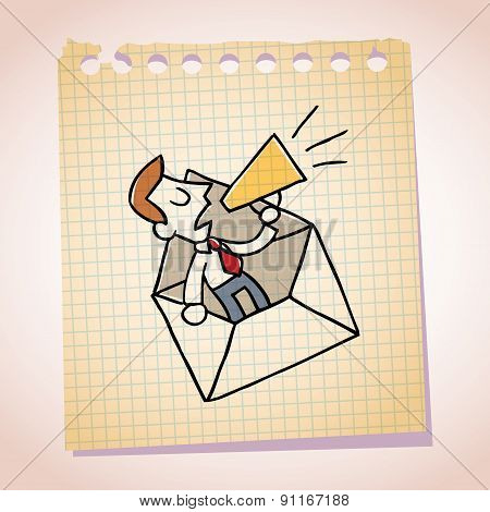 businessman and loudhailer note paper cartoon sketch