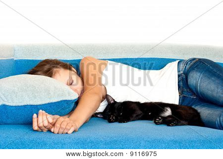 Girl And A Cat Sleeping Next To Similar Positions