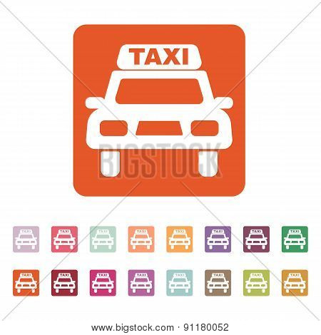 The Taxi Icon. Taxicab Symbol. Flat