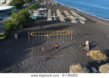 Top View Of Perissa Beach In Santorini