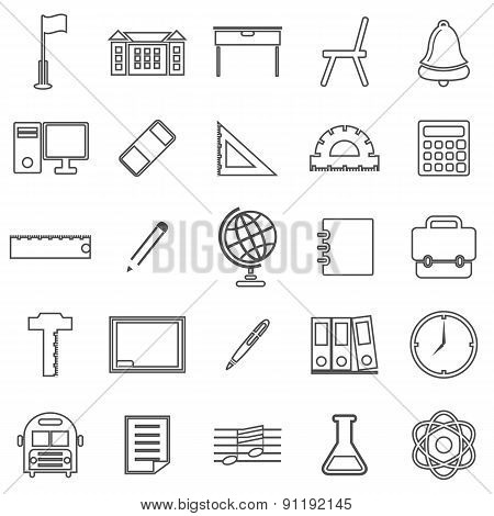School Line Icons On White Background