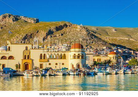 Pothia port and townhall on Kalymnos island Greece