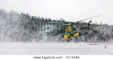Helicopter In Winter
