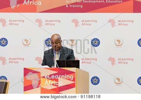 Mr Seyoum Bereded, President Of Ict-ethiopia, Delivers A Keynote Speech