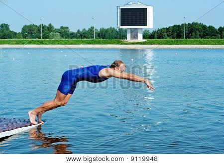 Sportsman Jump In Water