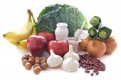 Probiotic (or prebiotic) rich foods including pulses nuts fruit and milk products good for immunity and the gut poster