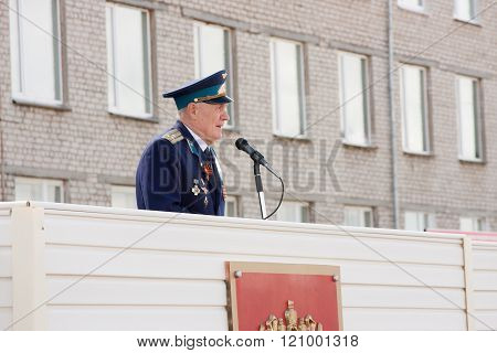 Perm, Russia, July 04.2015:the Militarian Elderly The Man On A Tribune Acts