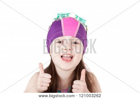 happy child girl in swimming cap isolated on white background