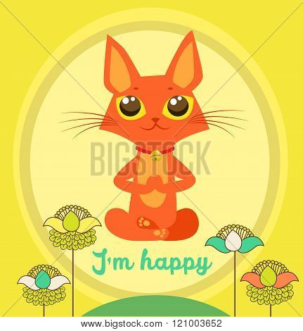 Meditating Cat Vector. Yoga Cat Vector. Cute Red Cat And Message I'M Happy. Vector For Poster.