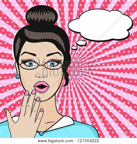 Pop Art Surprised Business Woman Face With Open Mouth In Glasses With Speech Bubble For Message