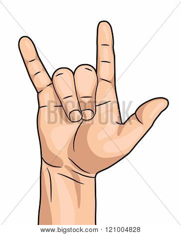 Rock n roll hand sign isolated on white background vector comic sketch style. Mans hand rock and roll sign.