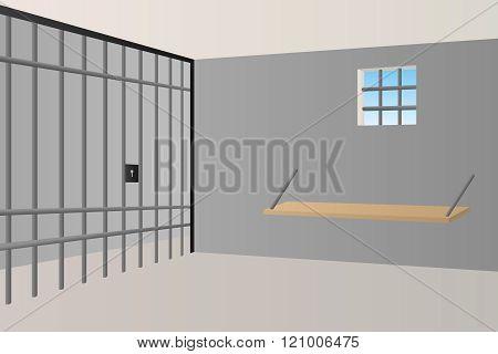 Prison jail room interior window grille illustration vector