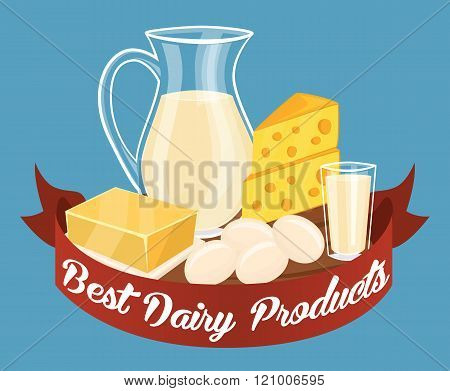 Dairy products isolated set, vector illustration. Milk products composition. Organic farmers food. Organic food and dairy product concept. Milk product icon. Cartoon dairy product. Dairy icon.