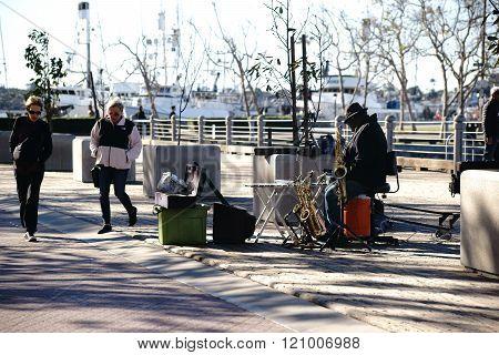 Busker at Navy Pier