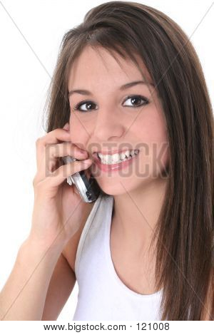 Beautiful Teen Girl Speaking On Cellphone