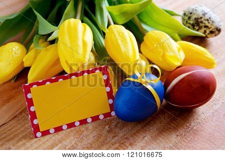 Easter greeting card and colorful eggs.