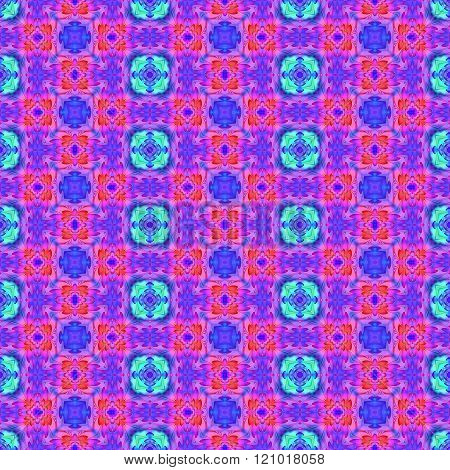Stylized oriental floral blue pink purple seamless pattern