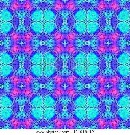 Stylized oriental floral blue pink purple seamless pattern