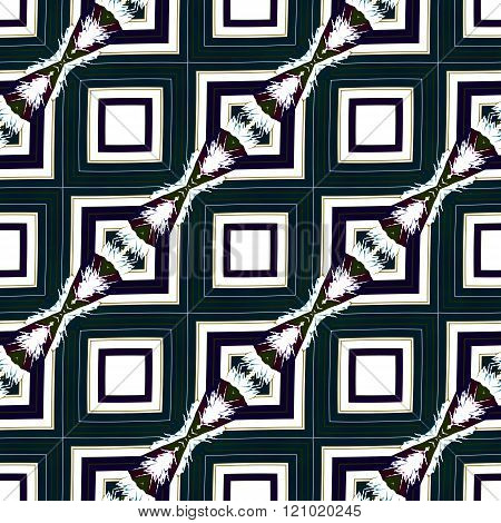Abstract seamless ornamental oriental secession cubist diagonally pattern