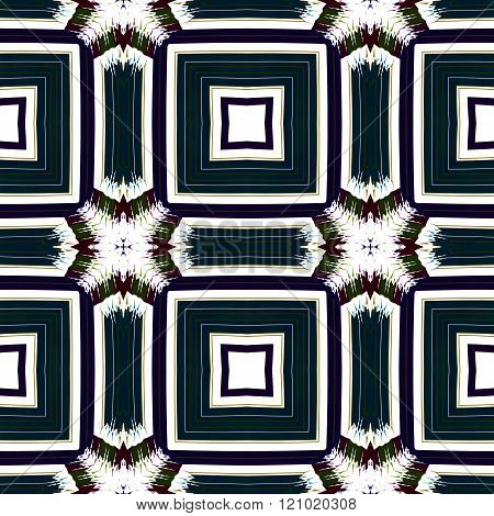 Abstract seamless ornamental fractal cubist turquoise white pattern