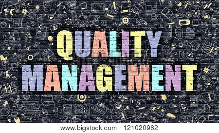 Quality Management Concept. Multicolor on Dark Brickwall.
