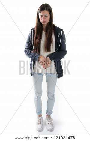 Ashamed And Afraid Young Girl Full Lenght Picture Isolated