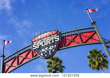 Orlando,Florida/USA-ESPN, 4 Jan 2016: ESPN, Wide World of Sports, Florida, USA. Entrance to the stadium.