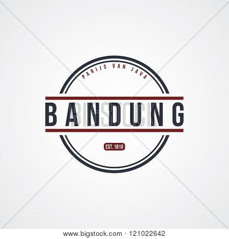 bandung badge indonesia label theme vector art illustration