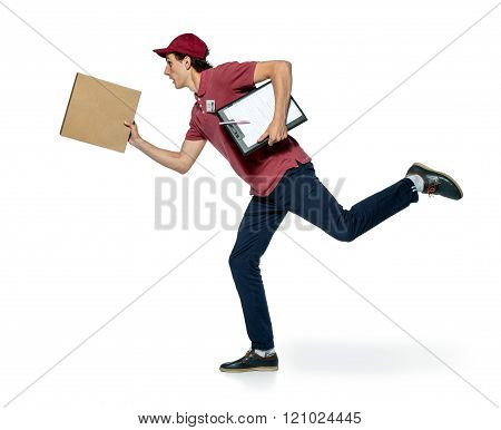 Male courier company worker delivering a package.