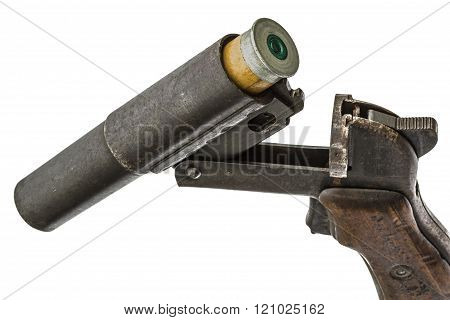 Cartridge Is Inserted Into The Barrel  Flare Gun, Isolated On White Background