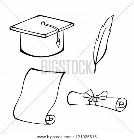 Education hat diploma feather black white isolated object illustration vector
