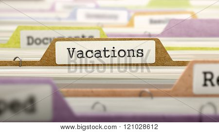 Vacations Concept. Folders in Catalog.