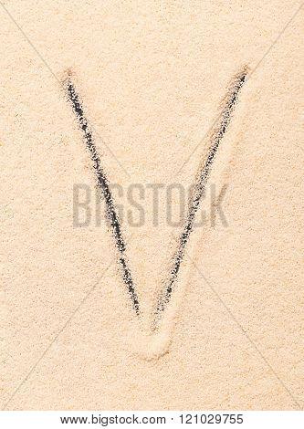 V Letter Written On Sand