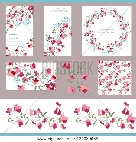 Floral spring templates with sweet peas. Decorative elements, endless pattern brush  and round frame. For romantic and summer design, announcements, greeting cards, posters, advertisement.