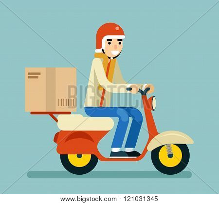 Delivery Courier Motorcycle Scooter Box Symbol Icon Concept Isolated on Green Background Flat Design