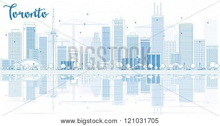 Outline Toronto skyline with blue buildings and reflections. Vector illustration. Business travel and tourism concept with place for text. Image for presentation, banner, placard and web site.