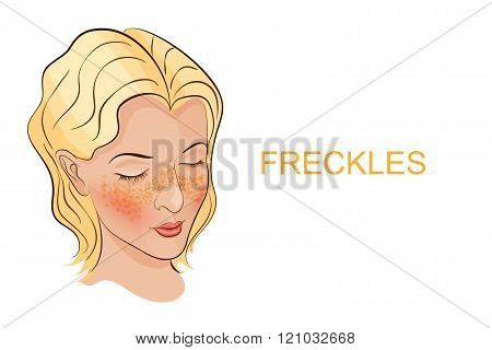 illustration of the face of a young woman with freckles, Brightener