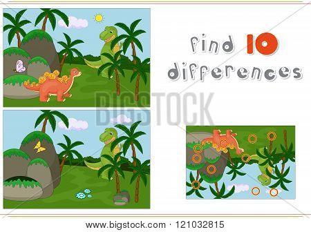 Funny Cute Ichthyosaurus And Pliosaurus On The Background Of A Prehistoric Nature. Game For Kids: Fi