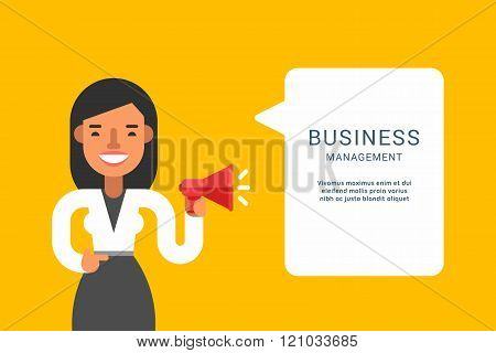 Business Concepts With Businessman Cartoon Character. Businessman With Speech Bubble. Management. Ve
