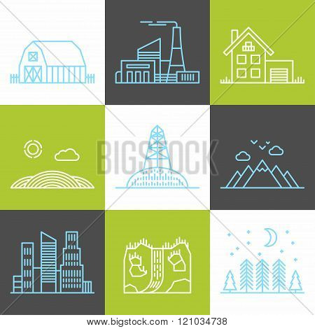 Set Of Flat Style Line Art Vector Illustrations For Different Landscapes, City And Rural Buildings,