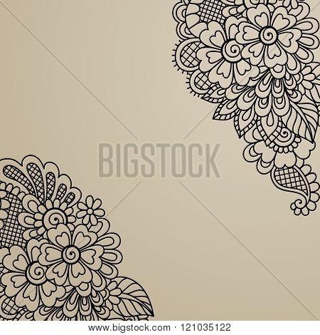 Black flower corner, lace ornament