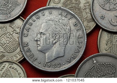 Coins of Spain. King Juan Carlos I of Spain depicted in the Spanish 50 peseta coin (1982).